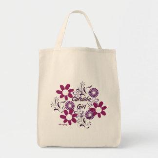 Carolina Girl~Purple florece el bolso Bolsa Tela Para La Compra