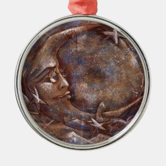 Carolina Moon - Blue/Copper 01# Var. Round Metal Christmas Ornament