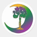 Carolina Palmetto & Crescent Rainbow Stickers