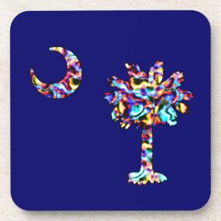 Carolina Palmetto Neon Flag Square Coasters
