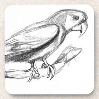 Carolina Parakeet Pencil Sketch Drink Coaster