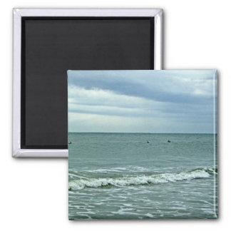 Carolina Tides Rolling Along Sand 2 Inch Square Magnet
