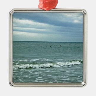 Carolina Tides Rolling Along Sand Metal Ornament