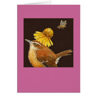 Carolina wren card with bee and flower