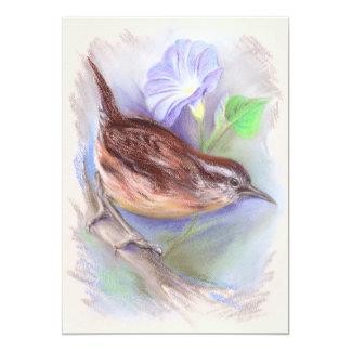 Carolina Wren with Morning Glory Flowers Card