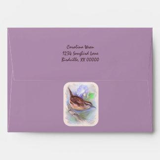 Carolina Wren with Morning Glory Flowers Envelope