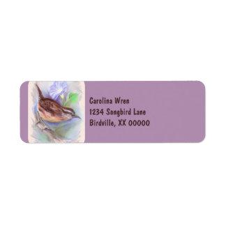 Carolina Wren with Morning Glory Flowers Label