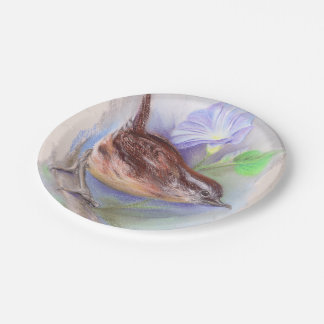 Carolina Wren with Morning Glory Flowers Paper Plate