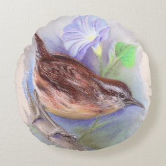 Carolina Wren with Morning Glory Flowers Round Pillow