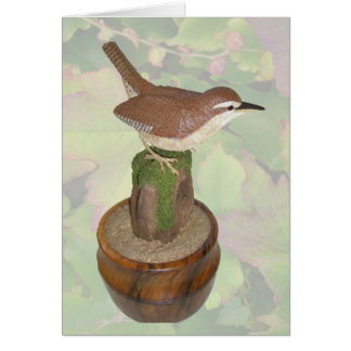Carolina Wren Woodcarving Note Card
