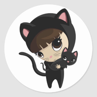 Caroline and Candy the Cats Classic Round Sticker