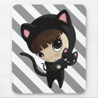 Caroline and Candy the Cats with stripes Mouse Pad