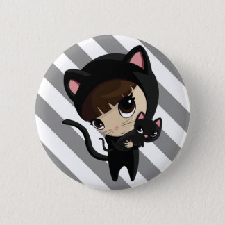 Caroline and Candy the Cats with Stripes Pinback Button