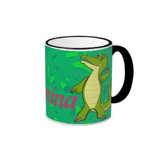 Caroline Crocodile Ringer Coffee Mug