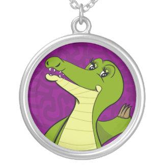 Caroline Crocodile Round Pendant Necklace