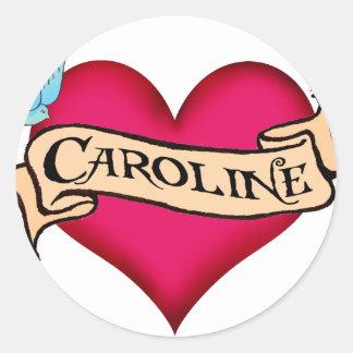 Caroline - Custom Heart Tattoo T-shirts & Gifts Stickers