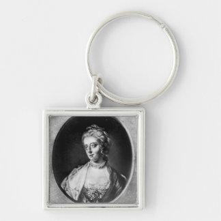 Caroline Matilda, reina de Dinamarca y de Noruega Llavero Cuadrado Plateado