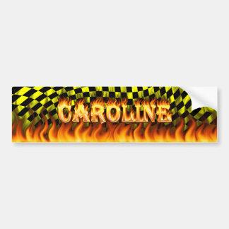 Caroline real fire and flames bumper sticker desig car bumper sticker