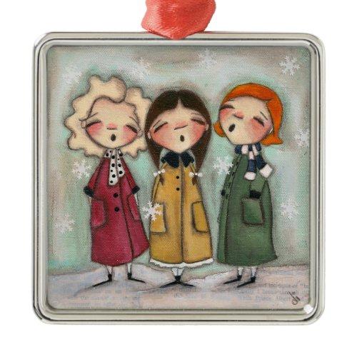 Caroling, Caroling - Premium Square Ornament ornament