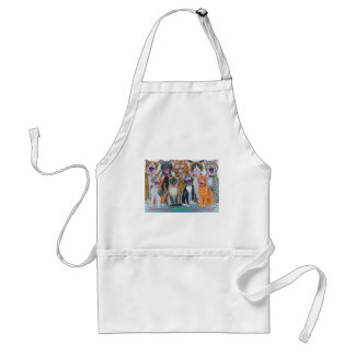 Caroling Cats with Christmas Greeting Adult Apron