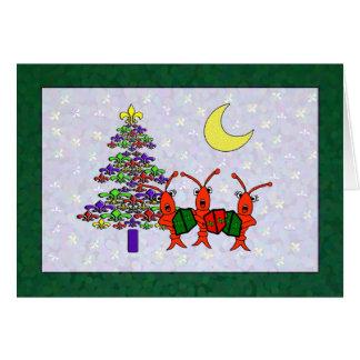 Caroling Crawfish Fleur de Lis Christmas Card