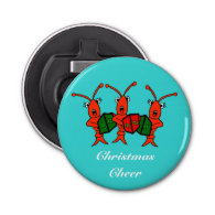 Caroling Crawfish / Lobsters Christmas Cheer Button Bottle Opener