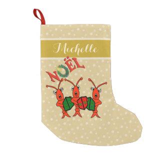 Caroling Crawfish Lobsters Christmas Small Christmas Stocking
