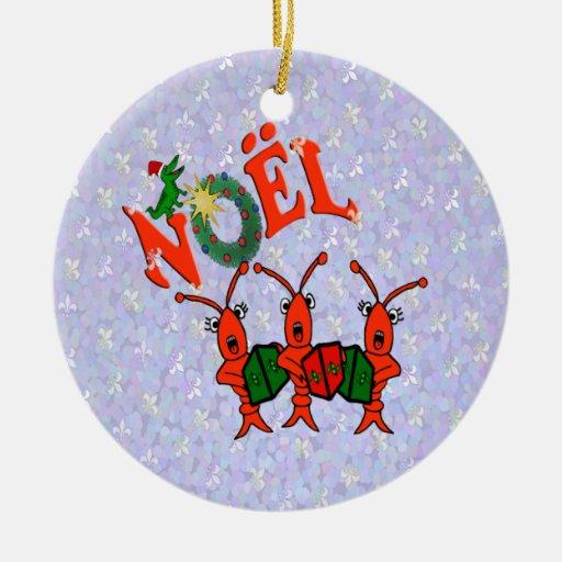 Caroling Crawfish with Alligator Ornament