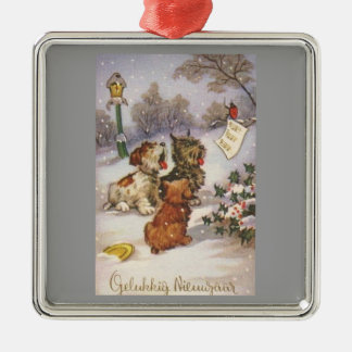 Caroling Dogs in the Snow Metal Ornament