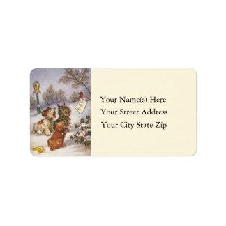 Caroling Dogs Vintage Address Label
