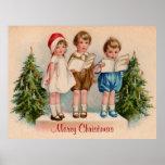 Caroling embroma el poster de las Felices Navidad