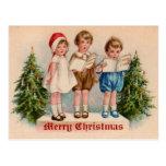 Caroling embroma la postal del vintage del