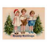 Caroling embroma la postal del vintage del Victori