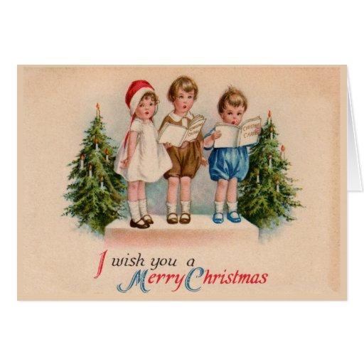 Caroling embroma tarjetas de las Felices Navidad