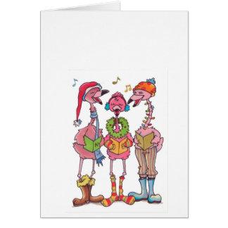 Caroling Flamingos Holiday Notecard
