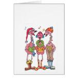 Caroling Flamingos Holiday Notecard Greeting Card