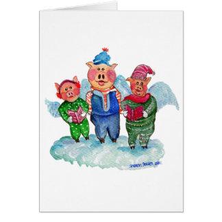 Caroling Flying Pigs Greeting Card
