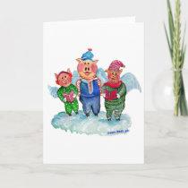 Caroling Flying Pigs Holiday Card