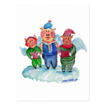 Caroling Flying Pigs Postcard