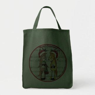 Caroling Horses Mare y Christmas Round Bag