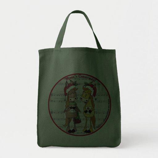 Caroling Horses 'Mare'y Christmas Round Bag