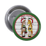 Caroling Horses 'Mare'y Christmas Round Button