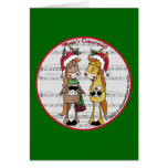 Caroling Horses 'Mare'y Christmas Round Greeting Card