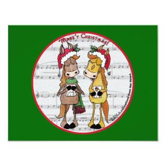 "Caroling Horses 'Mare'y Christmas Round 4.25"" X 5.5"" Invitation Card"