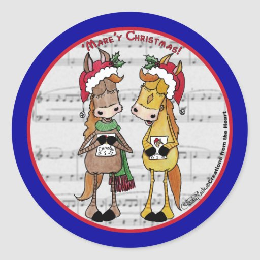 Caroling Horses 'Mare'y Christmas Round Classic Round Sticker