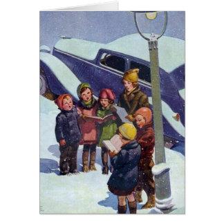 Caroling in the snow card