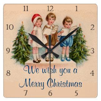 Caroling Kids Christmas Clock