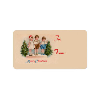 Caroling Kids Christmas Gift Tag Stickers Custom Address Label