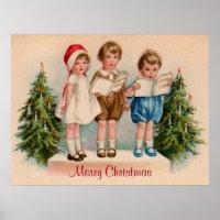 Caroling Kids Merry Christmas Poster