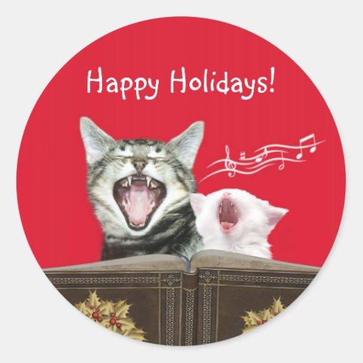 Caroling kitties stickers